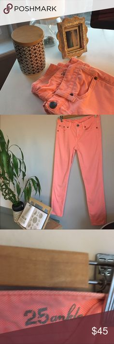 """JCREW Toothpick Pants. JCREW Jean toothpick pant. Sits at the hip. Fitted through hip and thigh, with a super skinny, ankle-length leg. 28"""" inseam. Coral color. Fabulous condition. J. Crew Pants Skinny"""