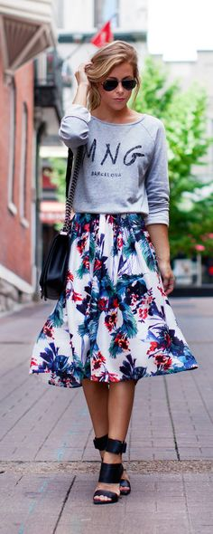 Flower-De-Luce Watercolor Midi Skirt - happilygrey