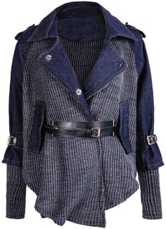 Shop Blue Contrast Denim Lapel Knit Sweater online. SheIn offers Blue Contrast Denim Lapel Knit Sweater & more to fit your fashionable needs.