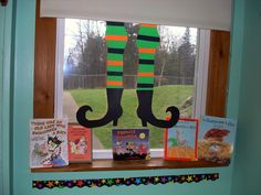 This Halloween, dangle a pair of witch's legs off your window shade for a dramatic flair in your classroom!