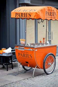 ice cream cart in Bayonne, Aquitaine, France Coffee Carts, Coffee Shop, Ice Cream Cart, Street Vendor, Mobile Shop, Mobile Bar, Biarritz, Orange Crush, Oui Oui