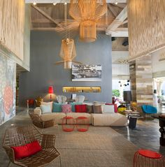 W Hotels-  new Puerto Rican Retreat & Spa property on the island of Vieques. Patricia Urquiola's vision of paradise is of bold, beautiful colours and unique materials alongside her own sensational furniture