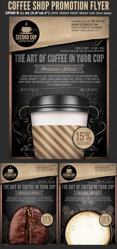 Buy Coffee Shop Promotion Flyer Template by Hotpin on GraphicRiver. Coffee Shop Promotion Flyer Template is very modern psd flyer that will give the perfect promotion for your Coffee Ba. Menu Design, Food Design, Flyer Design, Cup Design, Layout Design, Coffee Shop Menu, Coffee Shop Design, Restaurant Flyer, Restaurant Marketing