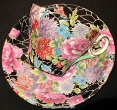4:00 Tea...Shelley...Black Crackle Chintz...teacup and saucer