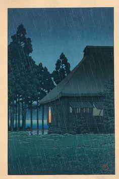 """HASUI -- """"Evening Rain, Lakeside Tearoom"""""""