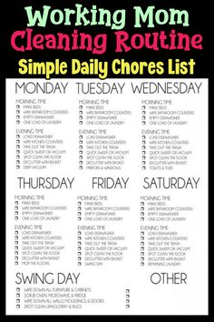 Best Cleaning Schedule For Working Mom: Cleaning Schedule Ideas For House Cleaning! Weekly cleaning schedule, daily cleaning schedule, monthly cleaning schedule and printable cleaning schedules too. Monthly Cleaning Schedule, Clean House Schedule, Daily Cleaning, Deep Cleaning Tips, House Cleaning Tips, Cleaning Hacks, Cleaning Routines, Motivation Cleaning, Chore Schedule