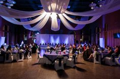 Wedding reception at the Marco Polo Cruise Terminal #ceilingdraping #blue #white @portsaintjohn