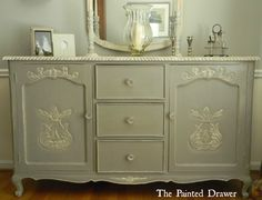 A beautiful sideboard finished in French Linen Chalk Paint® decorative paint by Annie Sloan | By The Painted Drawer www.thepainteddrawer.com