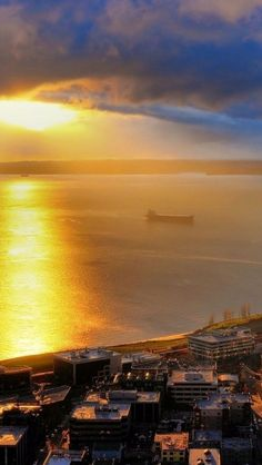 Sunset over Puget Sound, Seattle, Washington, USA