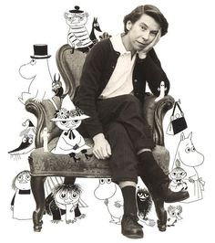 artist Tove Jansson with Moomin characters Tove Jansson, Les Moomins, Moomin Valley, Cartoon Shows, Children's Book Illustration, Artist Art, Helsinki, Collages, My Idol