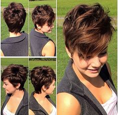 """20 layered hairstyles for women with """"problem"""" hair - Thick, thin, curly, straight or wavy hair problems solved! Cute Hairstyles For Short Hair, Pixie Hairstyles, Curly Hair Styles, Layered Hairstyles, Pixie Haircuts, Wavy Pixie Haircut, Shaggy Pixie Cuts, Pixie Haircut For Round Faces, Woman Hairstyles"""