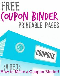 Free Printable Coupon Binder Pages, plus a DIY video