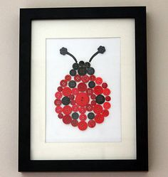 Ladybird Button Art - Have to make this for the little one's room!
