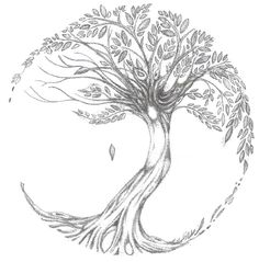 Tree of Life tattoo - i want this on my back of behind my neck. Not as circular with blooming cherry blossoms to add a little color.