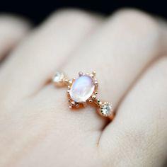 Moonstone Engagement Ring 18k Rose Gold Moonstone Wedding Ring