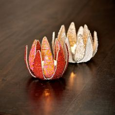 Wire and bead White Protea Flower T-light Handmade by ProjectZA