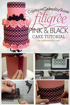 couturecakesbyrose: pink-fillagree-cake-feature the technique in her tutorial can only be used for dummy cake since she used puncher w/c is not food safe. but the idea was there....I wish I own a cricut!