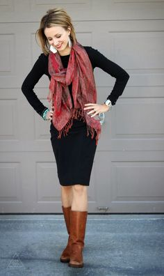 Black dress, brown boots and a red fringe scarf// what a great work outfit. Would love a black dress like this. Perfect length for dress code. Fall Winter Outfits, Autumn Winter Fashion, Church Outfit Winter, Fashion Fall, Mode Outfits, Casual Outfits, Casual Black Dress Outfit, Red Scarf Outfit, Outfit Vestido Negro