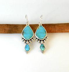 Kingman Turquoise Silver Ball Earrings Turquoise Accents, Kingman Turquoise, Handmade Silver, Drop Earrings, Color, Jewelry, Jewlery, Jewerly, Colour
