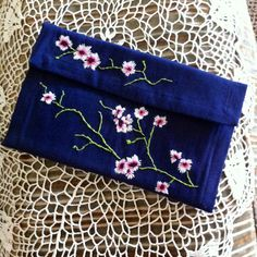 Cherry Blossom Clutch embroidery cherry by DarlaMelearLovett, $60.00