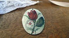 Vintage Rose Enamel Pendant Handpainted by PositivelyFlo Oval Pendant, Vintage Roses, Jewelry Supplies, I Shop, 1950s, Daisy, Vintage Jewelry, Enamel, Charmed