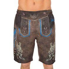 df4fc395c46f8e Shujin Herren Trachten Badeshorts Badehose im Lederhosen Style mit Knöpfe  Oktoberfest Trachtenbadehose Shorts #Bekleidung #
