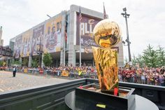The Larry O'Brien Championship Trophy is driven through downtown Cleveland during the Cleveland Cavaliers 2016 championship victory parade and rally on June 22, 2016 in Cleveland.