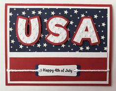 "Handmade ""USA"" Card, Happy Fourth of July, Patriotic, Let Freedom Ring, Red White Blue by JuliesPaperCrafts on Etsy Happy Fourth Of July, 4th Of July Party, July 4th, Military Cards, Military Quotes, Hand Made Greeting Cards, July Crafts, Card Making Inspiration, Pattern Paper"