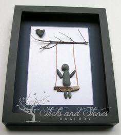 Pebble Art Swing Scene -Modern Childrens Art - Baby Shower Gift -SticksnStone Designs - Modern Nursery Pebble Art - Children's Swing - by SticksnStone on Etsy