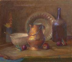 Henry Hensche (German/Louisiana, 1899-1992) 'Still Life with Copper Pitcher, Bottle, Fruit and Art Pottery Vase', oil on board, signed upper right 'Henry Hensche', 24' x 28'.  Unframed