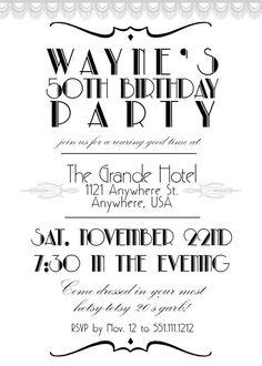 Grande Gatsby invito festa a tema anni ' 20 Doppia di TLCArts