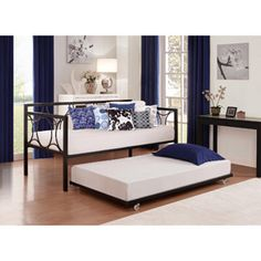 Rebecca Metal Daybed and Trundle, Black