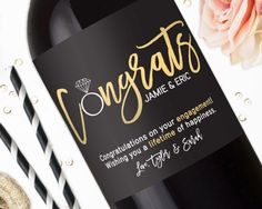 Congratulations Engagement Wine Labels Engagement Gifts for