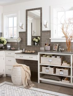 Mix open and closed storage, or try frosted-glass door inserts to add interest to the room and break up a wall of cabinets. #bathroomideas #bathroomremodel #newbathroom #bathroomdecor #bhg Serene Bedroom, Small Master Bedroom, Master Bedrooms, Spa Like Bathroom, Small Bathroom, Bathroom Ideas, Bath Ideas, Bathroom Remodeling, Master Bathroom