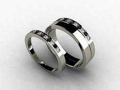 Wedding band set, titanium ring, Diamond, Titanium wedding band, men, black diamond, wedding ring, Titanium, ring set, women, two tone via Etsy