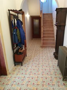 Hall with David & Goliath cement tile Roseline 20x20cm in a customized colour combination David And Goliath, Cement Tiles, Color Combinations, Colour, Modern, Design, Home Decor, Color Combos, Color