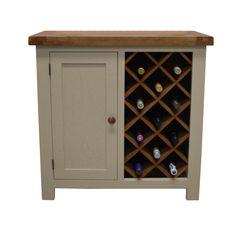 Croft Painted Oak Wine Rack with Storage / Drinks Cabinet / Wine Cupboard