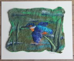 Flying Kingfisher, felted picture, mounted ready to frame by GardenGalleryDerbys…