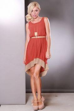 Rust Beige Contrast High Low Hem Belted Sexy Mini Dress $37.99