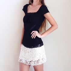 lace trim top offers welcome size medium black top with trim on bust and hem. •970016•  website: xomandysue.com instagram: xomandysue Tops Blouses