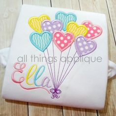 Heart Balloons Applique Design SATIN Stitch by allthingsapplique Learn Embroidery, Machine Embroidery Applique, Applique Patterns, Embroidery Stitches, Hand Embroidery, Embroidery Ideas, Machine Applique Designs, Embroidery Jewelry, Creeper Minecraft