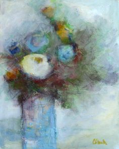 Sold! There's lovely, soft texture in this mixed media work in oil, acrylic and graphite. Dreamy and ethereal, the painting seems to reveal itself one layer at a time. It's painted on a .75″ thick canvas and the sides are painted black.