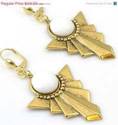 ON SALE Gold Earrings White and Gold by TashaHusseyJewelry on Etsy, $33.60