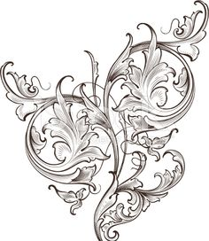 Wide Leaf Acanthus Scroll hand engraved scrollwork swirls royalty-free stock vector art