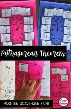 Pythagorean Theorem Around the Clock Partner Scavenger Hunt Math 8, Teaching Math, Color Activities, Math Activities, Clock Partners, Pythagorean Theorem, Order Of Operations, 8th Grade Math, Math Projects