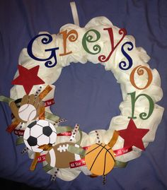 Wreath for a baby's sports theme room!