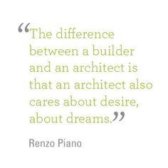 Great quote by Italian architect #RenzoPiano.  #ArchitectureQuotes #DesignQuotes