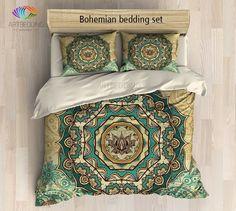 Mandala bedding, Bohemian duvet cover set, Lotus mandala duvet, boho bedding…
