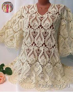By Beautiful lace crochet top Blouse Au Crochet, Black Crochet Dress, Crochet Shirt, Crochet Jacket, Crochet Lace Tops, Crochet Stitches Patterns, Lace Patterns, Thread Crochet, Crochet Motif