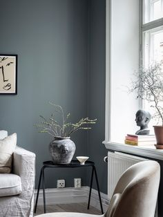 my scandinavian home: A Swedish Home With The Loveliest Earthy Blue Walls Living Room Paint, Home Living Room, Living Room Designs, Living Room Decor, Living Room Scandinavian, Scandinavian Design, Earthy Home Decor, A Frame Cabin, Swedish House